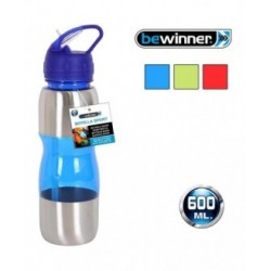 BOTELLA SPORT 600ML PLÁSTICO/METAL - COLORES SURTIDOS