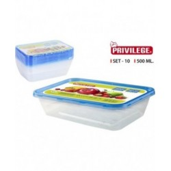 SET 10 SEMIDESECHABLES RECTANGULAR 500 ML PRIVILEGE
