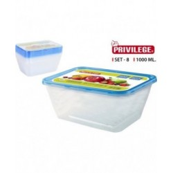 SET 8 SEMIDESECHABLES RECTANGULAR 1000ML PRIVILEGE